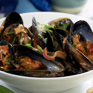 Creamy Tomato and Chili Mussels.