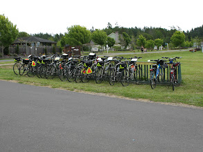 Photo: Day 4: Lopez Village bike rack was taken over by bikes from some touring outfit.