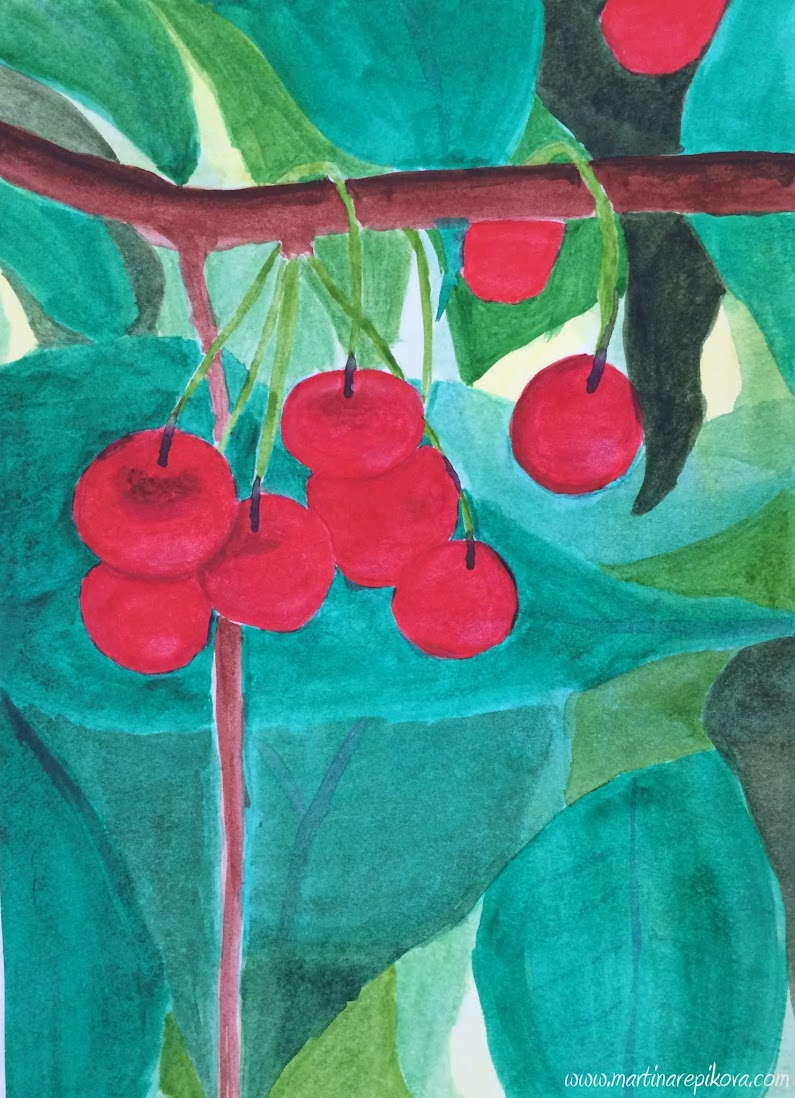 Cherries on the tree (a watercolour painting)
