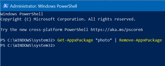 Manually reinstall the Photos app using Windows PowerShell