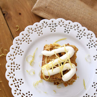 Carrot and Zucchini Bars with Lemon Cream Cheese Frosting.