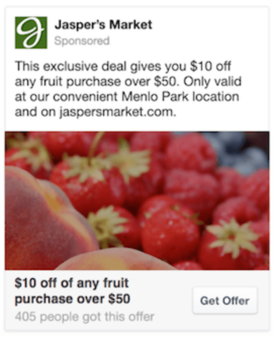 Jasper's market Offer claims Ads on FB