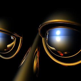 Eyes of the Cyborg by Lyle Hatch - Illustration Sci Fi & Fantasy ( cyborg, sad, 3-d, bryce, lifeless, robot, metallic, three dimensional, rendering, shiny, unfeeling, eyes )