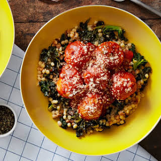 Chicken Meatballs & Fregola Sarda with Kale & Sicilian Tomato Sauce.