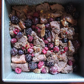 Vegan Bread Pudding with Berries and Cherries