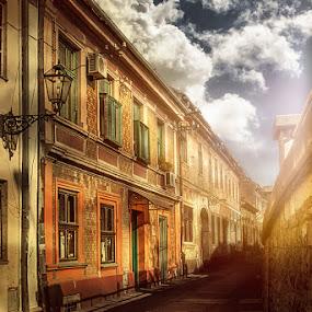 Little city by Bojan Dzodan - City,  Street & Park  Street Scenes ( sky, street, buildings, light, city )