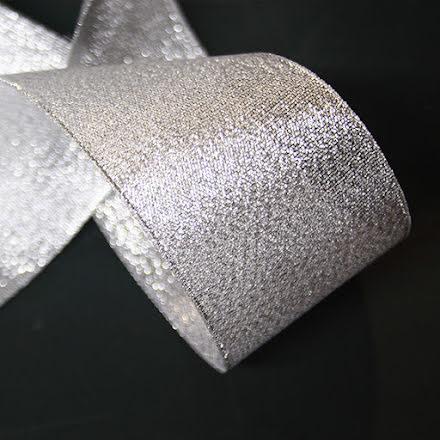 Glitterband Silver - flera bredder