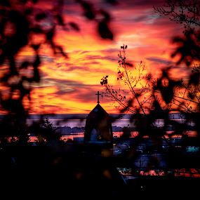 Morning Embers by Glen Sande - Landscapes Sunsets & Sunrises ( mn, duluth, sunrise, landscape, church steeple, pentax k1 )
