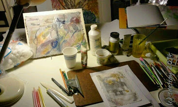 Photo: Grateful for my studio table and the set up there.