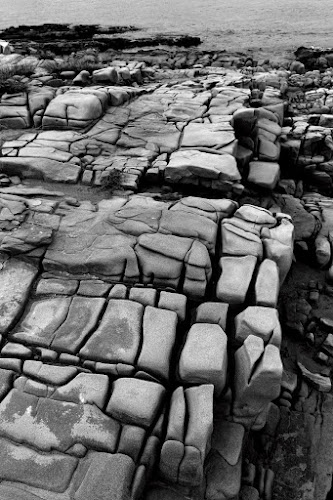 but a trace of a man by Brut Carniollus - Landscapes Caves & Formations ( coast, rab, rocks, shore, black and white )