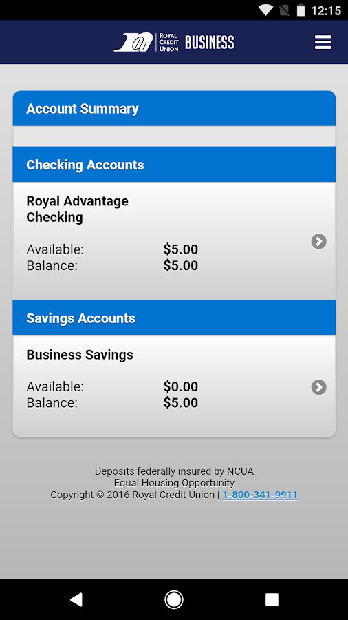 Royal Credit Union Business- screenshot