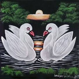 Love Swan by Sangeeta Paul - Painting All Painting