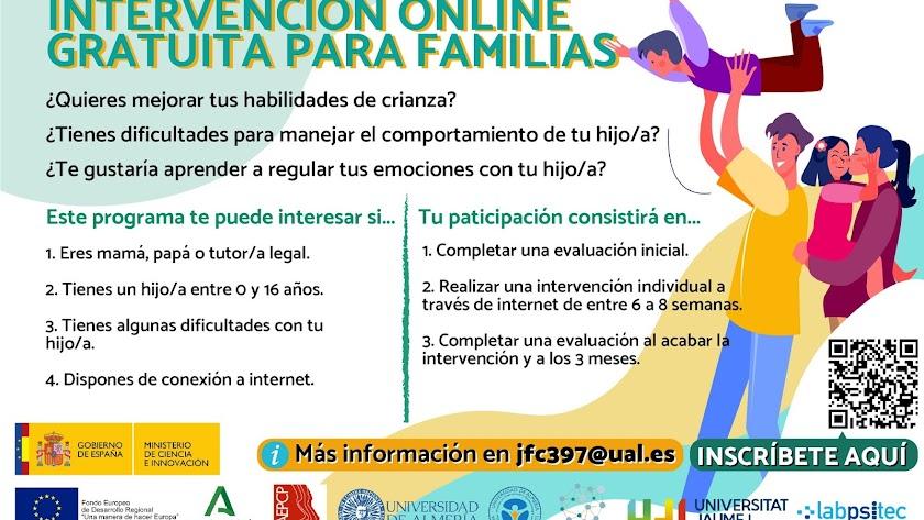 Cartel de Intervención Online gratuita para familias de la Universidad de Almería.