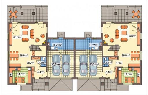 Cyprys bliźniak wersja B 2G, 1 ściana między segm. - Rzut parteru