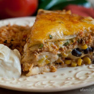 Mexican Lasagna with White Sauce.