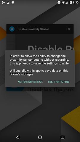 android Disable Proximity Sensor Screenshot 0