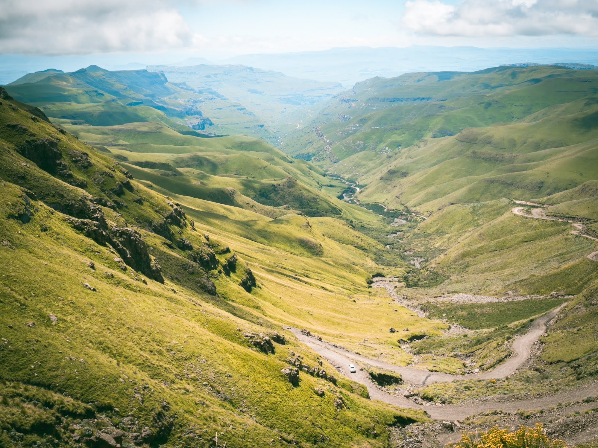 The twisty road up Sani Pass, this is South Africa side.