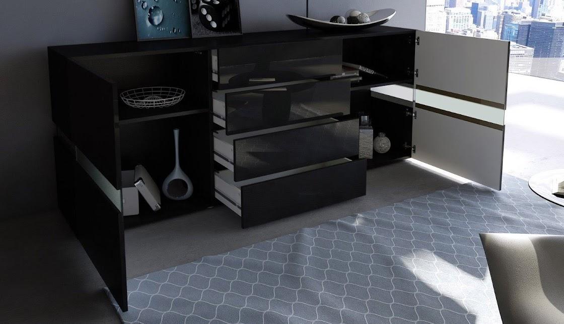 Credenza Con Led : Credenza moderna faro bianca o nera madia di design mobile soggiorno