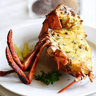 Baked Lobster with Cheese and Bacon.