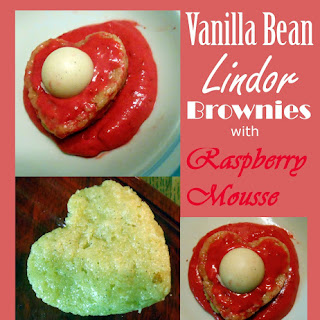 Vanilla Bean Lindor Brownies with Raspberry Mousse