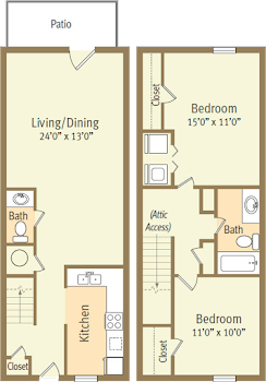Go to Two Bed, 1.5 Bath Townhome Spicewood Floorplan page.