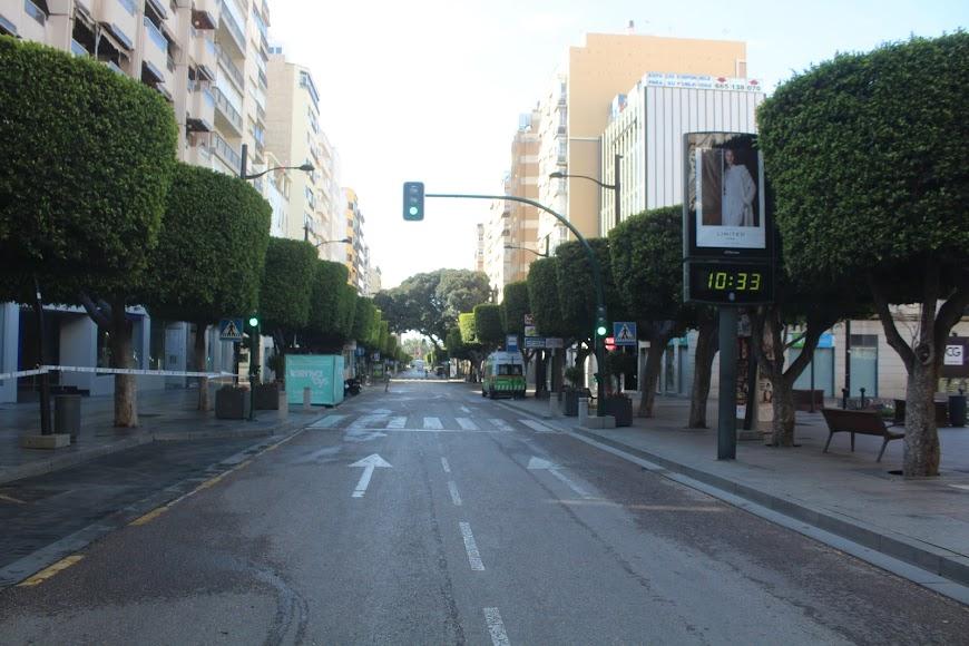 Aspecto del Paseo de Almería a las 10,33 horas.