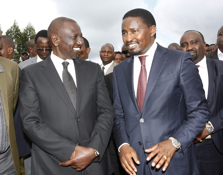 Deputy President William Ruto and former Agriculture Cabinet Secretary Mwangi Kiunjuri in Lari on January 29, 2020
