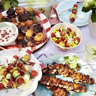 Lamb and Apricot Kebabs with Tahini-Pomegranate Dip.