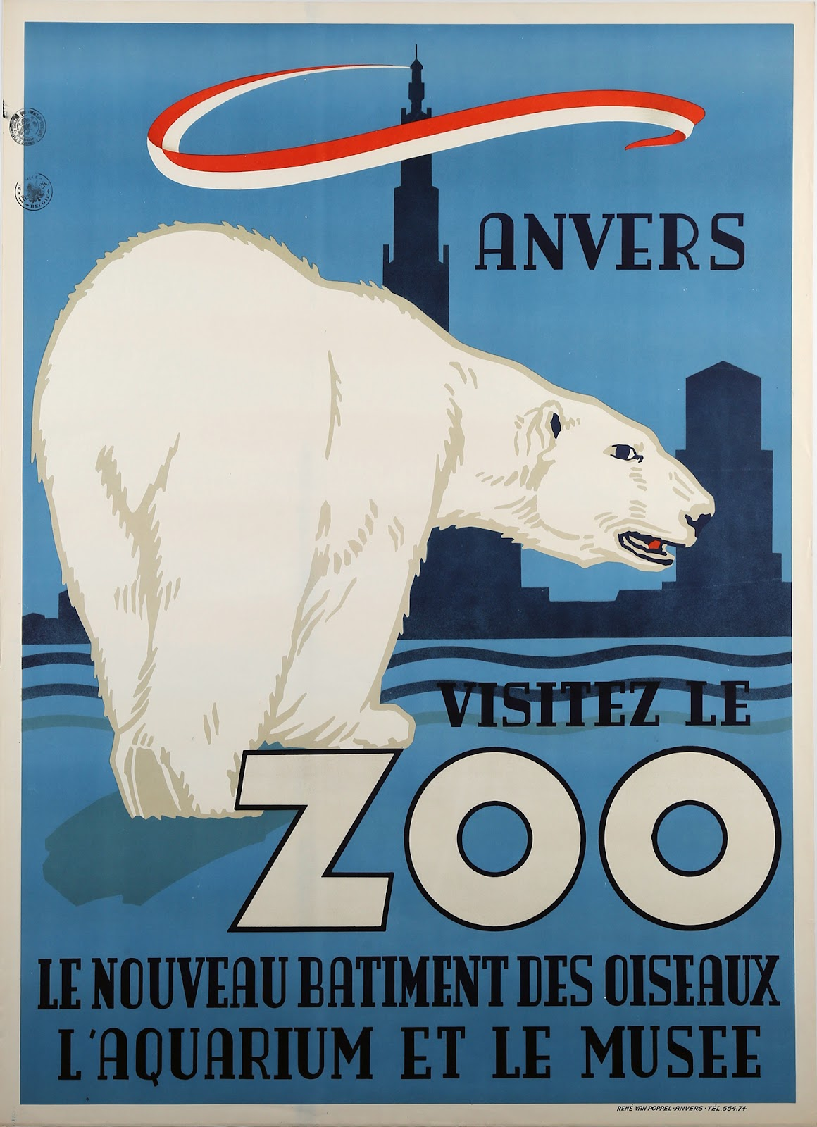 Vintage poster in blue and red