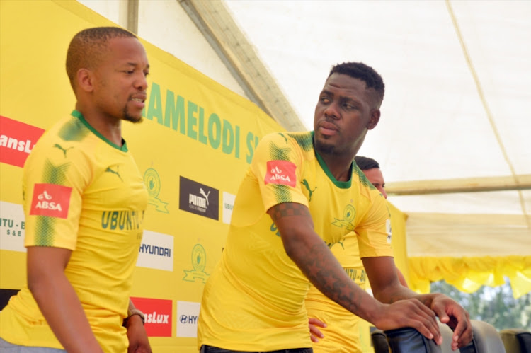 Siyabonga Zulu (R) with Aubrey Ngoma during a Mamelodi Sundowns press conference at Chloorkop before things went sour between the defender and the team.
