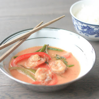 Thai Coconut Red Curry with Prawns.