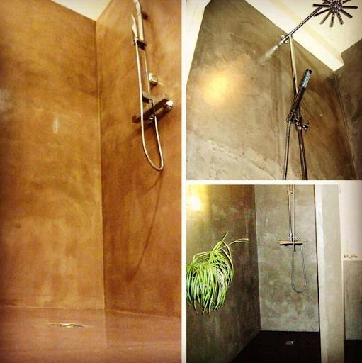 douche à l'italienne en béton ciré