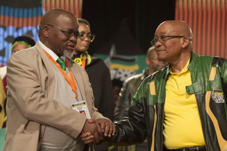 President Jacob Zuma shakes hands with ANC Secretary-General Gwede Mantashe during the African National Congress (ANC) 5th national policy conference at the Nasrec Expo Centre on July 05, 2017 in Johannesburg.