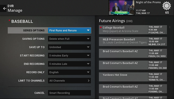 manage keyword recorded shows on Fiber TV