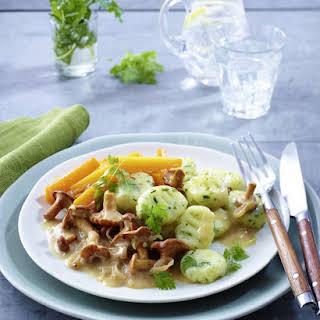 Vegan Gnocchi with Chanterelle Sauce.