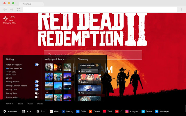 Red Dead: RedemptionⅡ HD Games New Tabs Theme