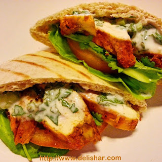 Tandoori Chicken Pita with Cucumber Mint Yogurt Dressing
