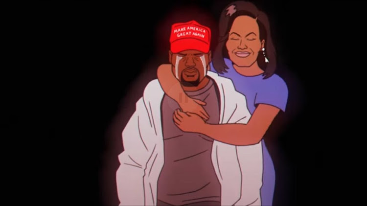 In the latest Childish Gambino video, an animated Michelle Obama bear hugs a crying Kanye West, who's wearing a MAGA hat.