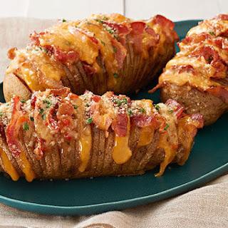 Cheesy Bacon Hasselback Potatoes.