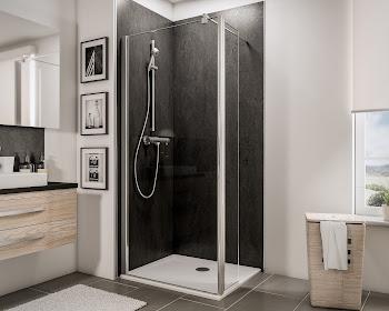 Paroi de douche fixe à l'italienne Walk In, 90, 100 ou 120 cm, avec retour pivotant