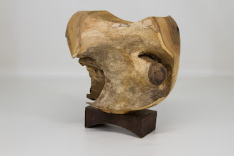 "Photo: Richard Webster 6"" x 7"" sculpture ""Osage Grotto"" [osage orange on a walnut base]"