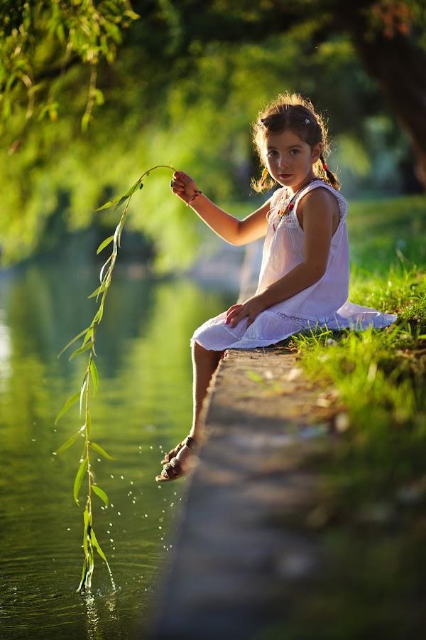 Fishing by Nicu Buculei - Babies & Children Child Portraits ( child, girl, children, lake, willow, kids, kid,  )