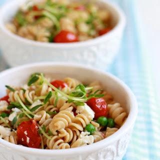 Whole Wheat Pasta Salad With Feta + Pea Shoots.