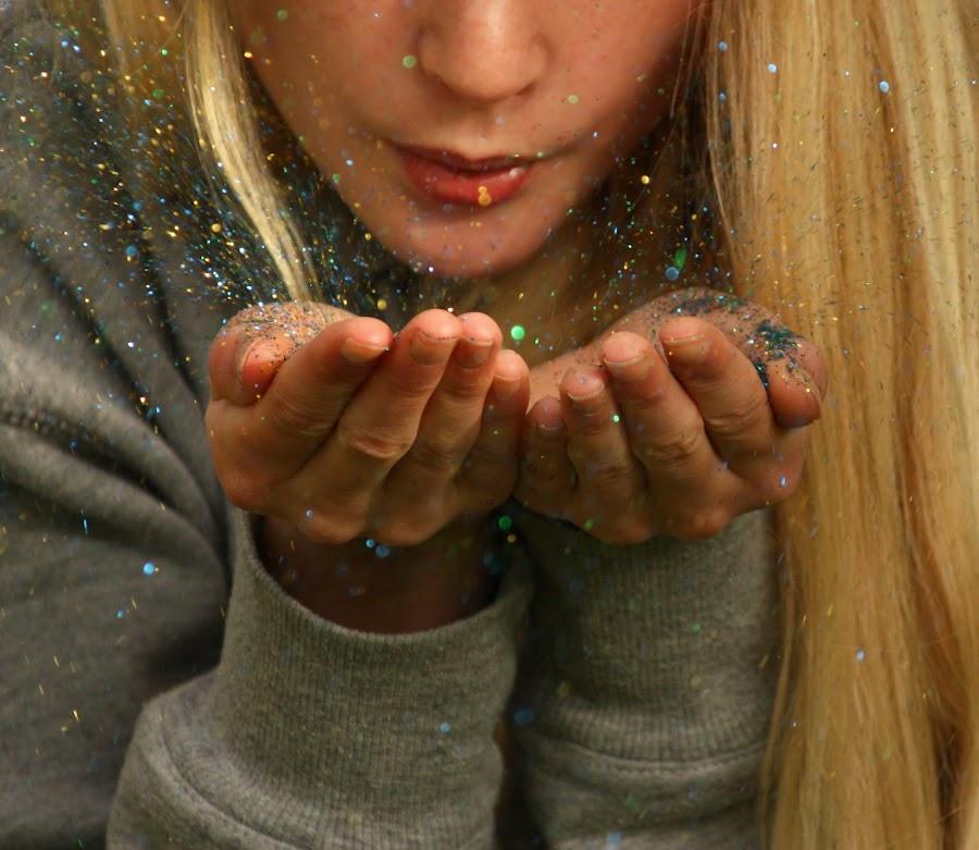 Magic dust by Jane Bjerkli - People Body Parts ( blowing, magic, girl, hands, dust, teens, pwchands, glitter,  )