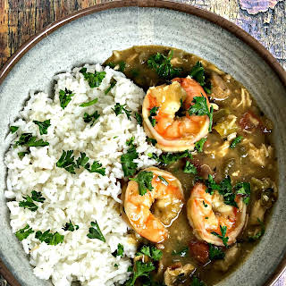 Instant Pot Louisiana Seafood, Chicken, and Sausage Gumbo.
