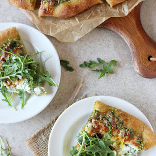 Arugula Pesto Pizza with Herbed Ricotta
