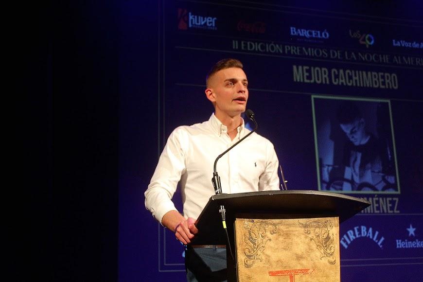 Jesús Jiménez, galardonado en los Premios de la Noche Almeriense, durante su intervención.