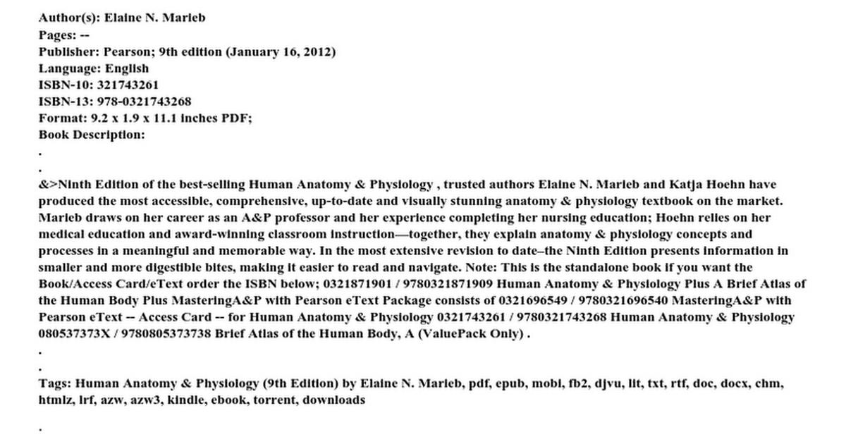 Human Anatomy Amp Physiology 9th Edition By Elaine N Marieb