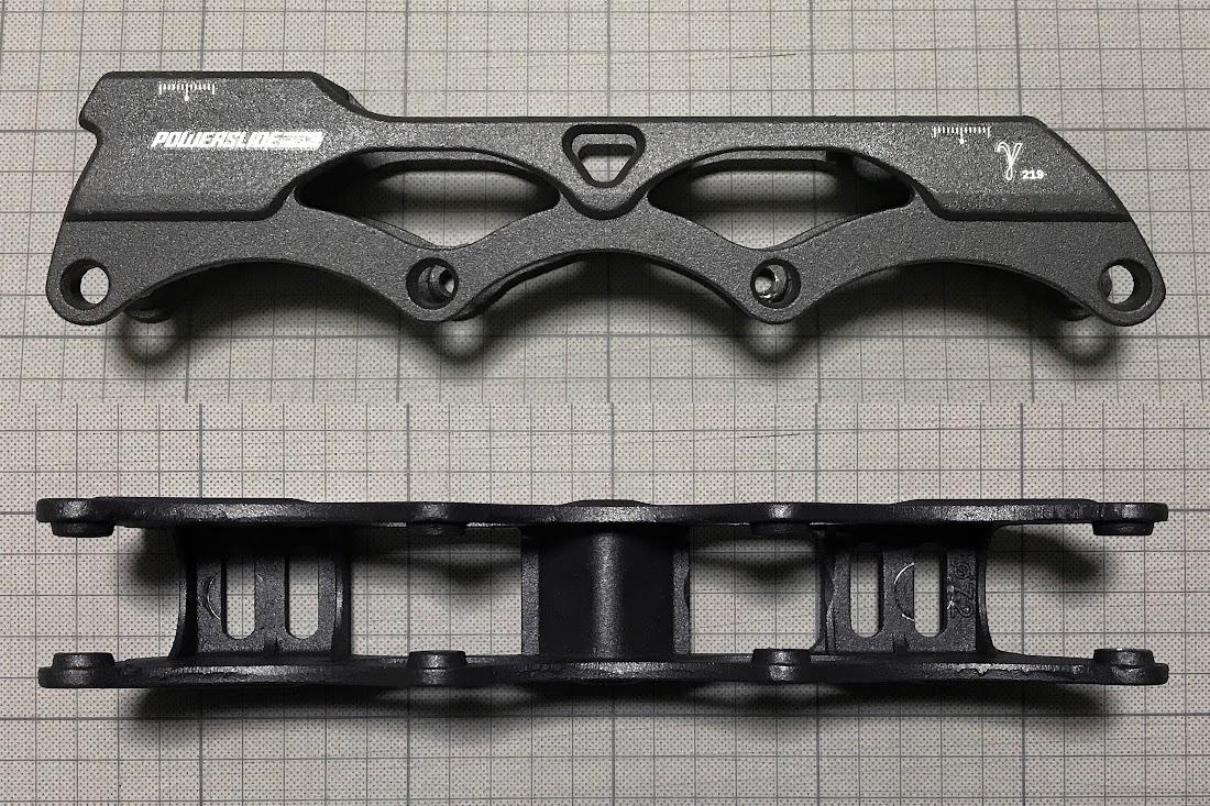上:フレームの横からの写真 下:フレームの下からの写真