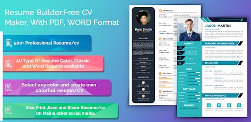 Resume Builder Free Cv Maker With Pdf Word Format Apps On